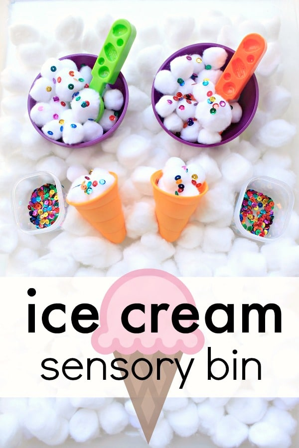 Ice Cream Sensory Bin--sensory play fun for toddlers and preschoolers. Use it for a preschool ice cream theme or summer sesnory activity for kids