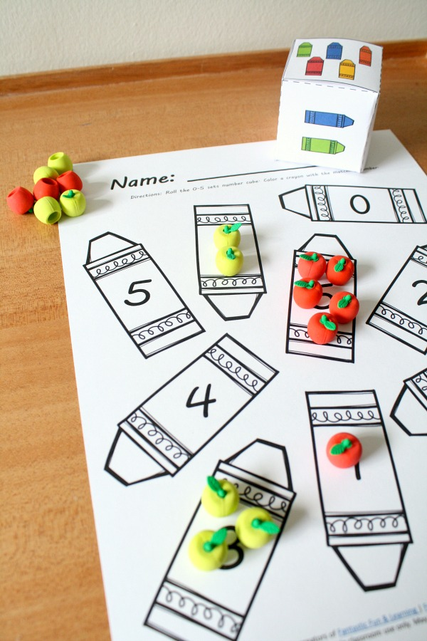 Back to School Math Activity-Roll and Count with Apple Mini Erasers for Preschool and Kindergarten