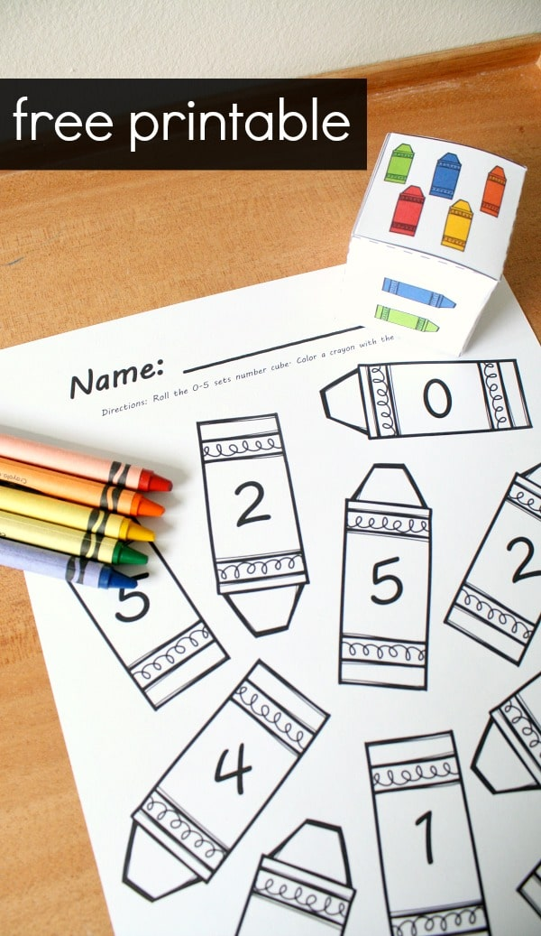 Free printable crayon roll and color math game. Counting sets for preschool and kindergarten. Great for back to school!
