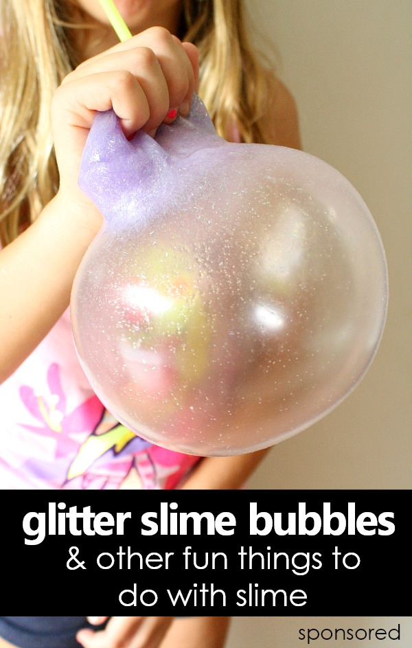 Glitter Slime Bubbles & Other Fun Things to Do with Slime-Make this 3-ingredient borax free glitter slime recipe. Then use your slime for all sorts of fun activities