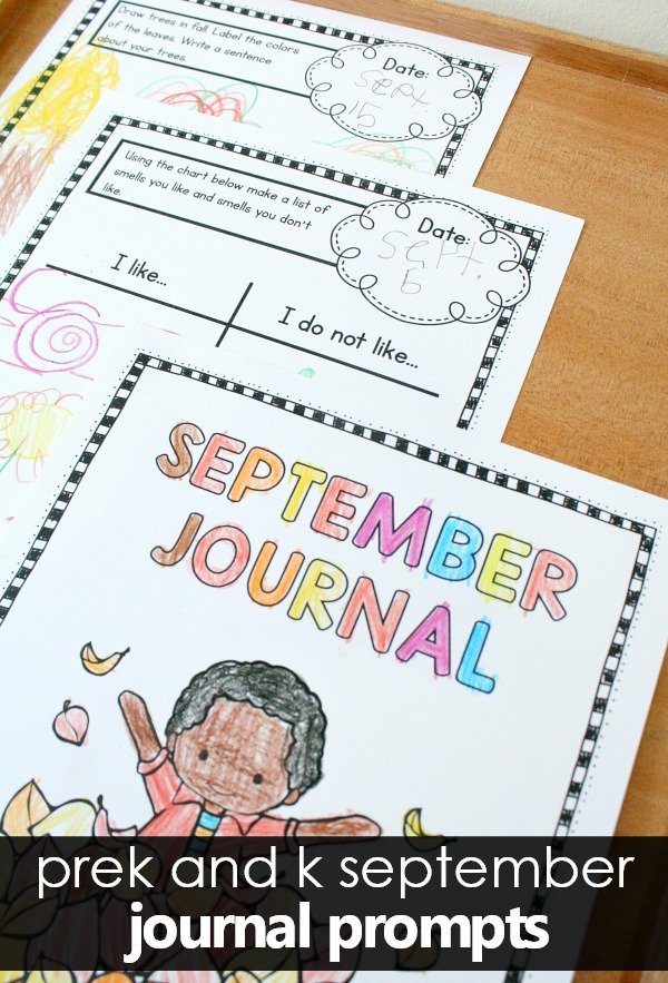 Writing Journal Prompts for September-Preschool and Kindergarten. September pack includes seasonal prompts covering 5 Senses, Fall, Apple, Leaf, and Pumpkin themes as well as some general nonseasonal prompts