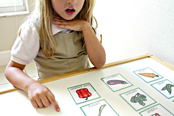 chin counting for vegetable theme syllable activity