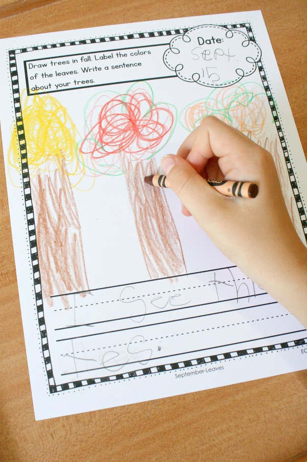 Fall writing activity for kindergarten