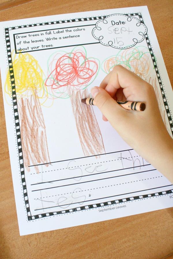 Fall writing activity for kindergarten