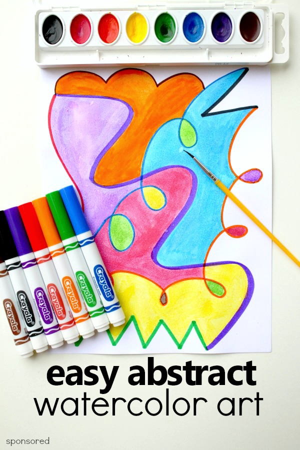 Easy Abstract Watercolor Art Project with basic school supplies