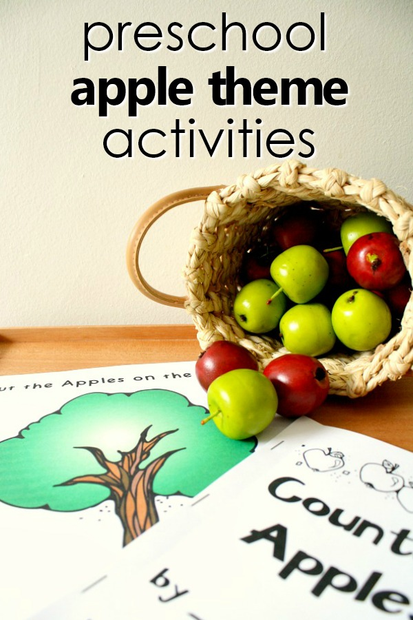 Preschool Apple Theme Activities-Teaching tips, learning activities, play ideas, free printables, printable lesson plans, favorite apple videos and more for your apple theme activities