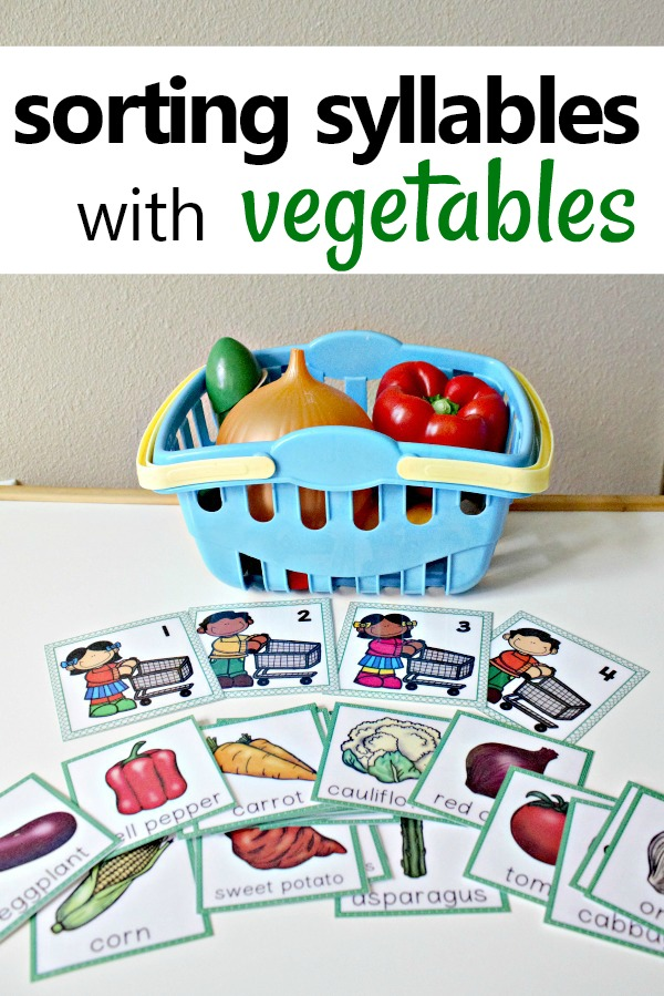 Vegetable Theme Syllable Sorting Activity-Use this free printable, real vegetables, or pretend play food to practice sorting vegetables by the number of syllables