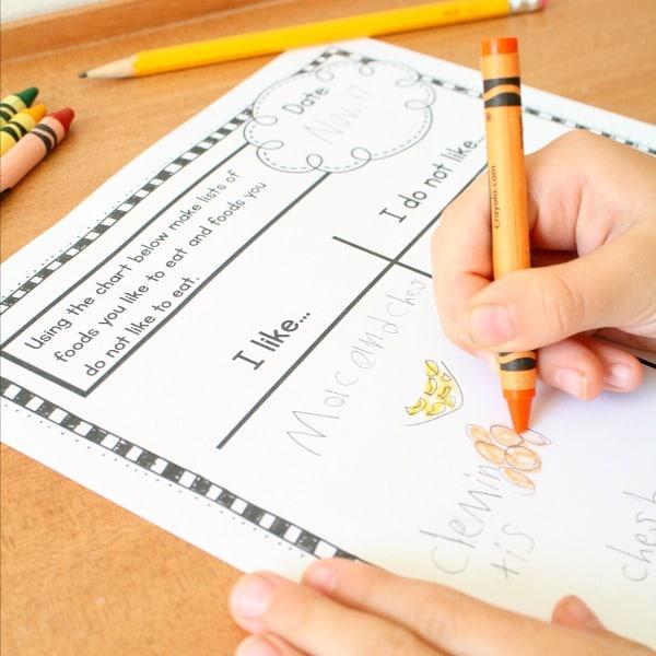 kindergarten journal writing prompts