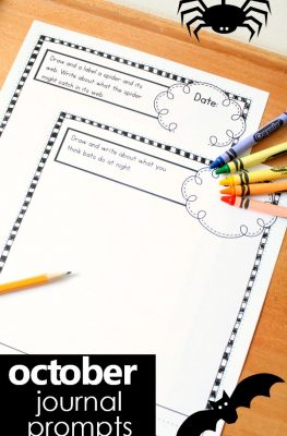 October Writing Journal Prompts for Beginning Writers-Includes prompts for community helper, bat, spider, monster, Halloween and some general topics