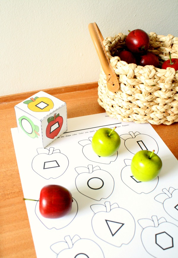 Roll and Color Apple Activities Fall Math Games for Preschool and Kindergarten