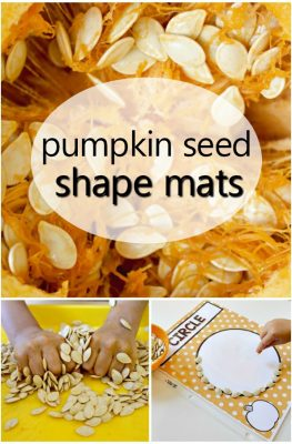 Practice shape recognition, counting and more with these free printable pumpkin seed shape mats for preschool and kindergarten