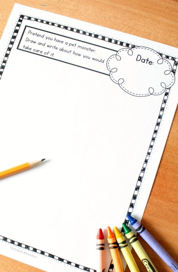 monster writing prompt-Halloween writing activities for kids