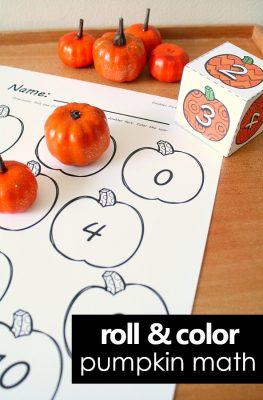 Roll and Color Pumpkin Math Activities-Free printable doubles math facts game for fall and full set of pumpkin math activities for preschool, kindergarten, and first grade