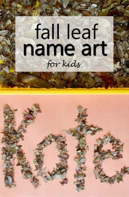 Fall Leaf Name Art-Sensory name activity for toddlers and preschoolers