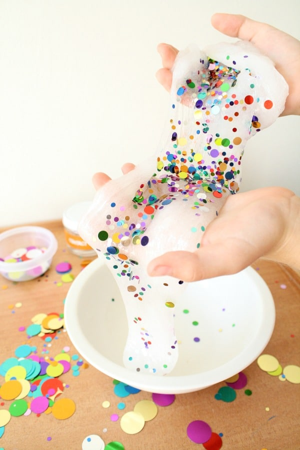Confetti Slime for Kids-Make this confetti slime recipe for birthday party favors, New Years Celebrations or just for fun!