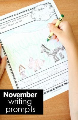November writing journal prompts for kids. Lined and unlined journal pages for preschool, kindergarten, and first grade writers. Includes seasonal prompts for Farm, Kindness, Food, Gratitude, and Thanksgiving themes as well as some general nonseasonal prompts.