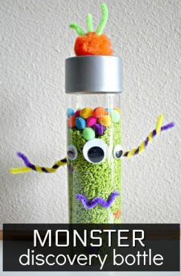 Monster Sensory Bottle-Fun Halloween activity for kids or a great monster theme preschool activity! Sensory play, math, and more!