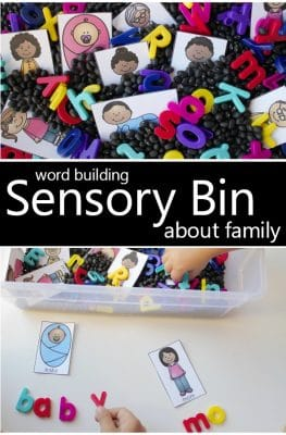 Word Building Sensory Bin for Preschool Family Theme