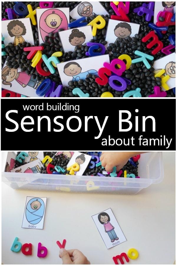 Word Building Sensory Bin For Preschool Family Theme