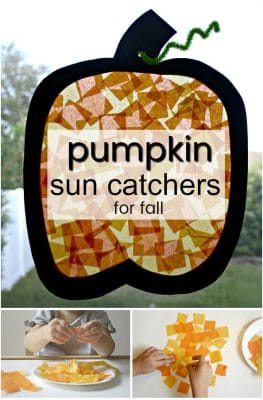 Fall Craft for Toddlers and Preschoolers-Make these easy pumpkin sun catchers for your pumpkin theme activities