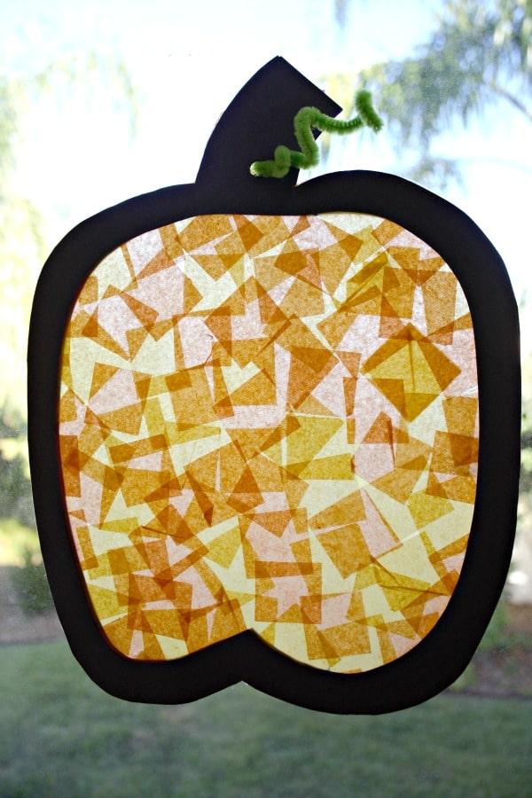 Easy Fall Craft-Pumpkin Window Art Sun Catcher