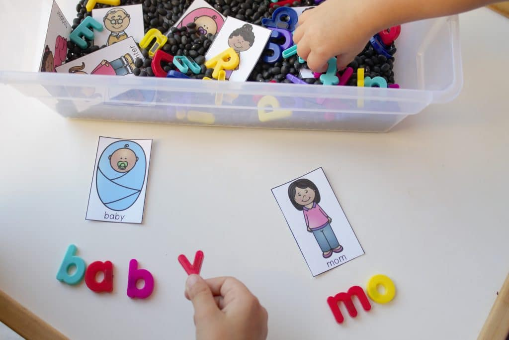 Word Building with a Family Theme Sensory Bin