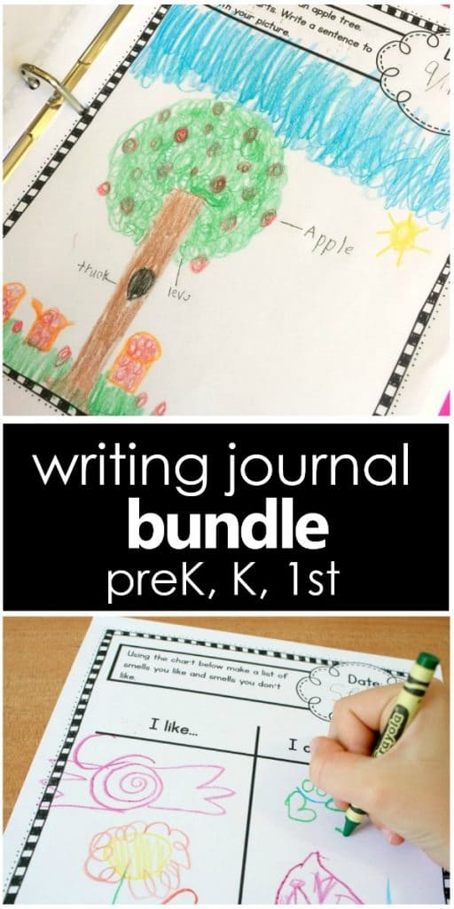 Writing Journal Prompts for Preschool, Kindergarten, and First Grade. Writing prompts for a wide variety of topics that are engaging for young writers