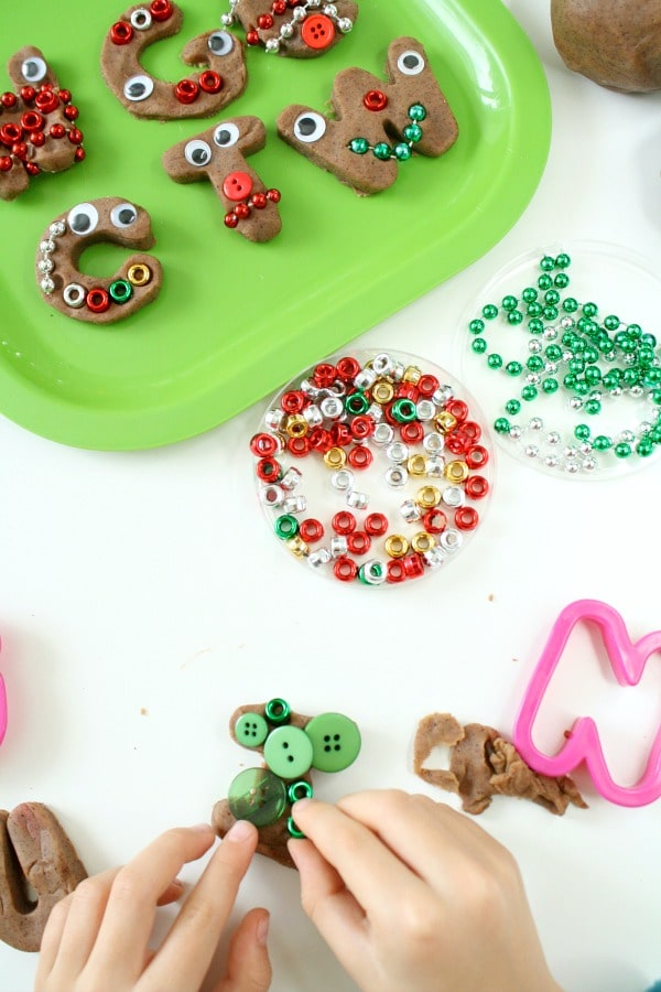 Decorating gingerbread letters preschool Christmas activity