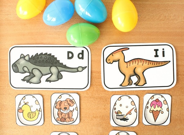 Dinosaur Egg Sound Sort with Manipulatives