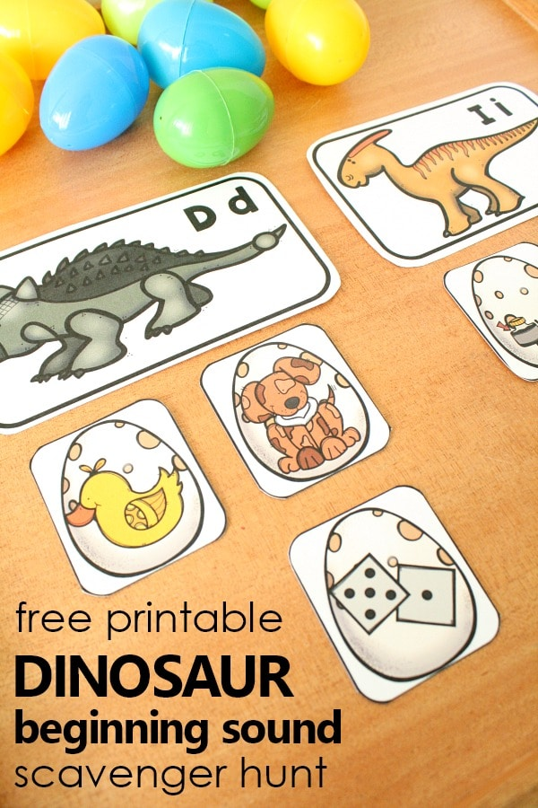 Free Printable Dinosaur Beginning Sound Scavenger Hunt for Preschool and Kindergarten #dinosaurtheme #preschool #freeprintable #beginningsounds