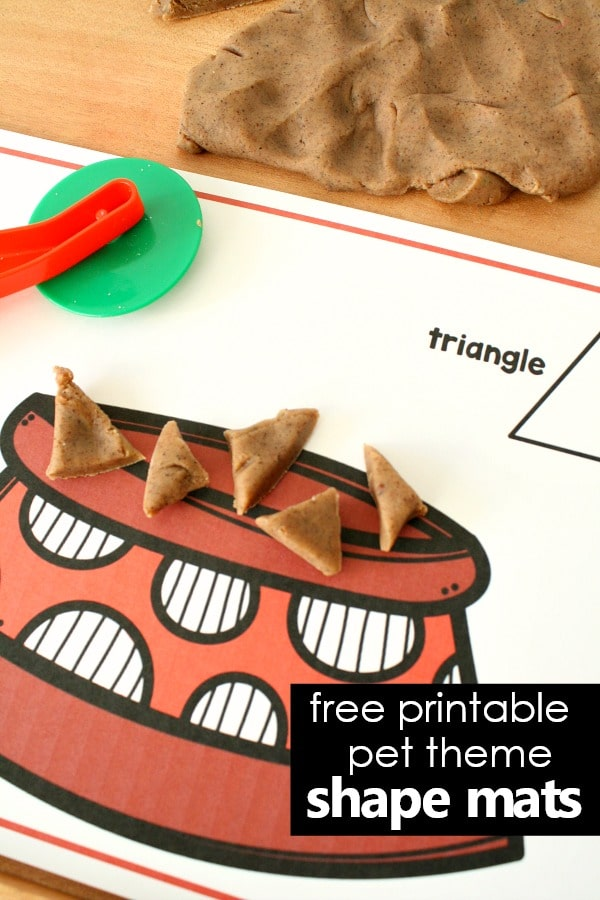 Free printable 2D shape mats for preschool pet theme play dough invitation #pettheme #freeprintable #playdough
