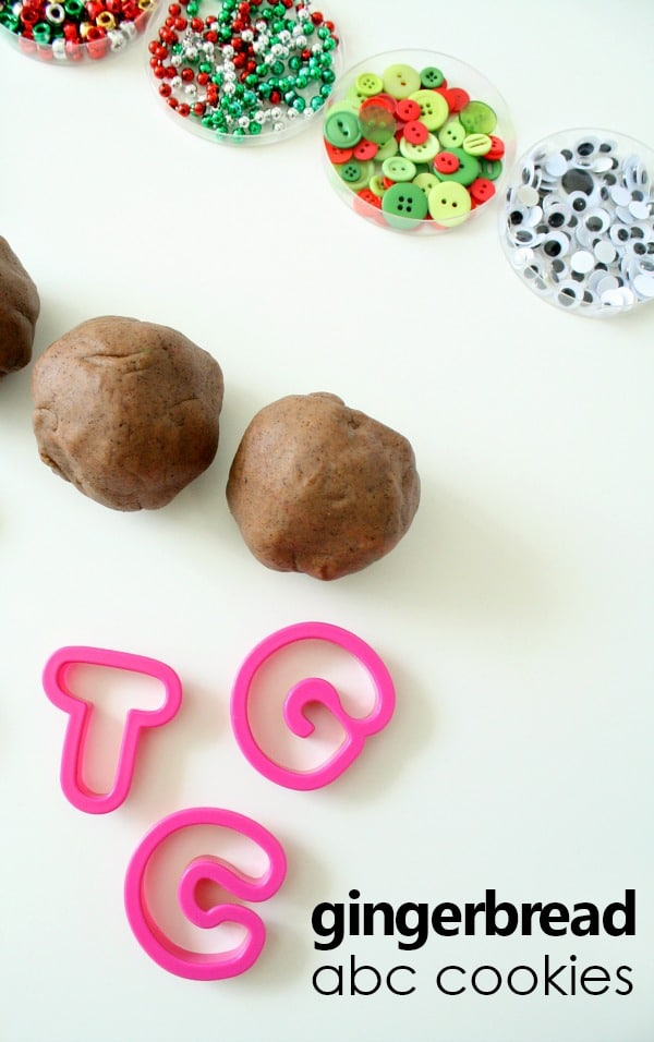 Gingerbread Play Dough Activity-Decorate ABC and number cookies for fun pretend play with a learning twist