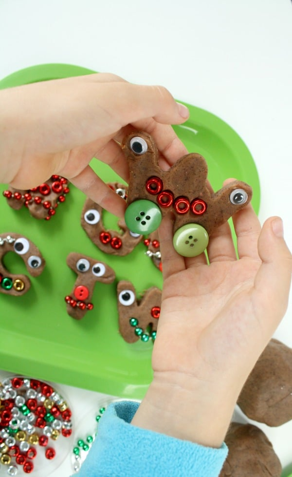 Gingerbread Activity- ABC Pretend Cookies with Play Dough and Loose Parts