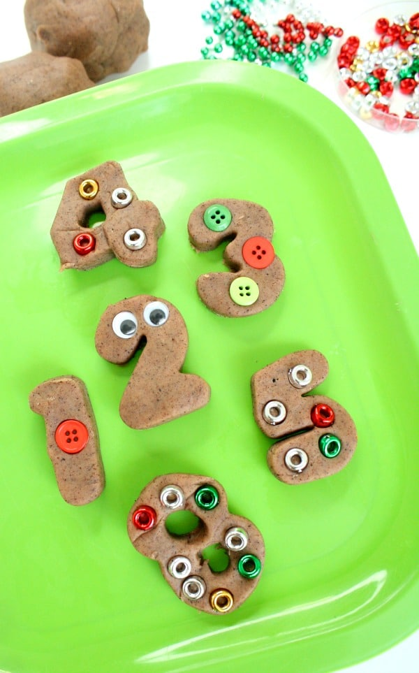 Gingerbread Math Counting Activity with Play Dough