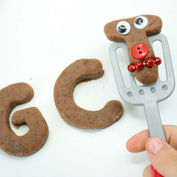 Serving Gingerbread ABC Play Dough Cookies