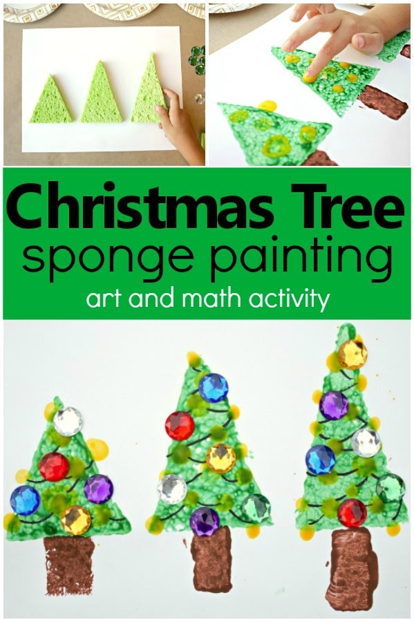 Christmas Tree Sponge Painting Process Art and Math Christmas Activity for Kids #Christmas #kidart #artforkids