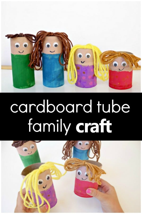 Cardboard Tube Family Craft -Use for pretend play. Add to sensory bins, or act out stories for your preschool family theme #preschool #familytheme #kidscrafts