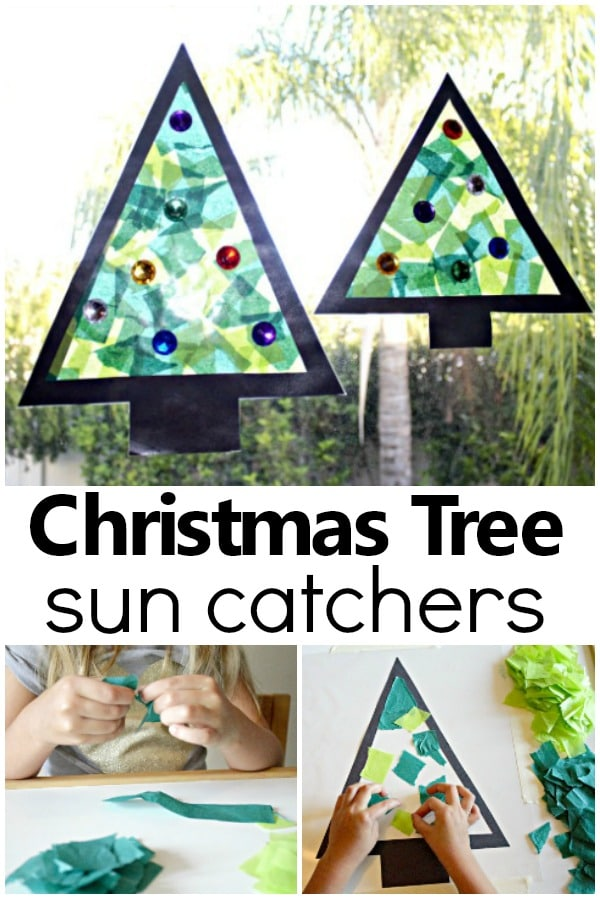 Christmas Tree Sun Catcher-Make this easy Christmas craft with toddlers, preschoolers or kindergarteners