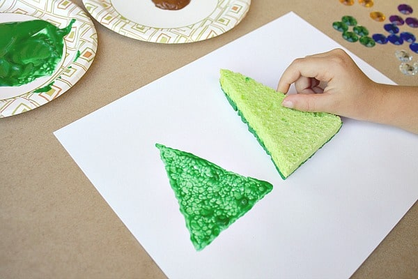 Sponge Painting Christmas Project for Kids