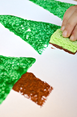 Christmas Sponge Painting Activity for Kids