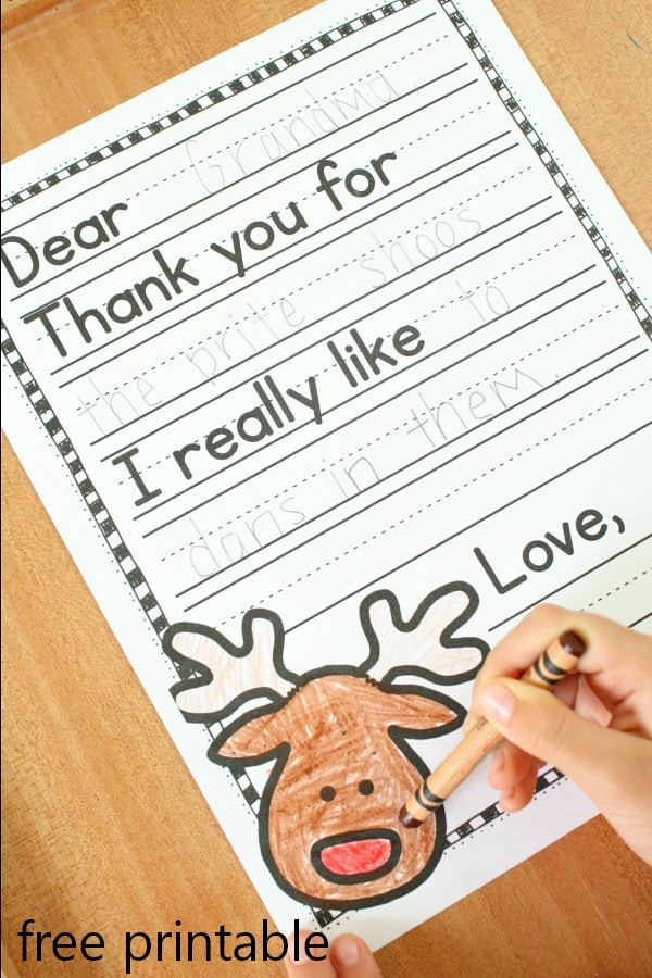 Christmas Thank You Note Freebie Printable Template for Kids #freebie #Christmas #kids
