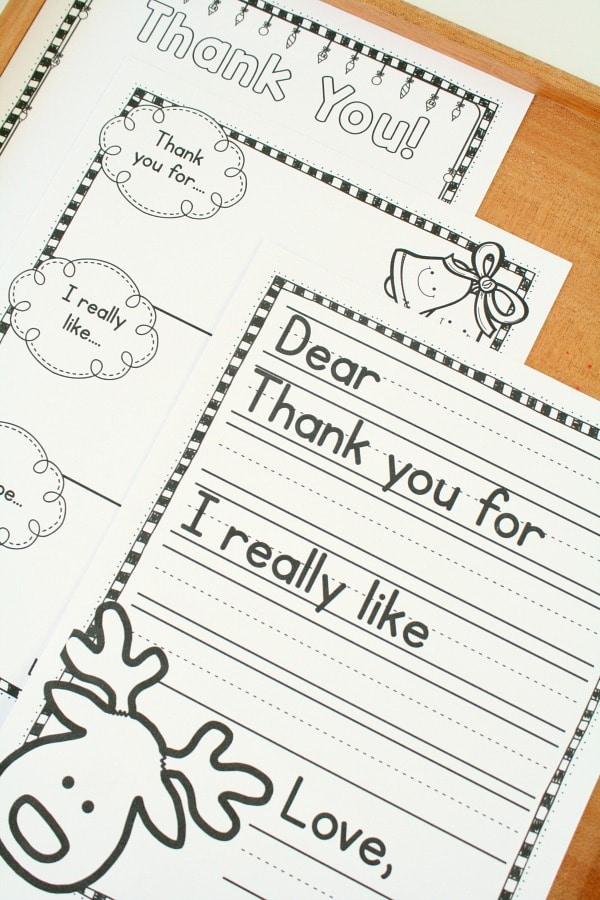 Free Printable Christmas Thank You Notes for Kids