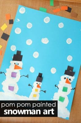Pom Pom Painted Snowman Art Preschool Snowman Theme Activity