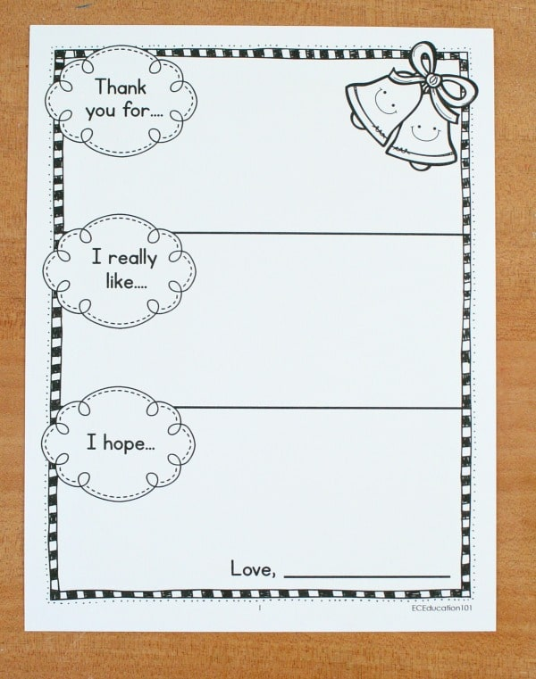 Printable Christmas Thank You Note Template2