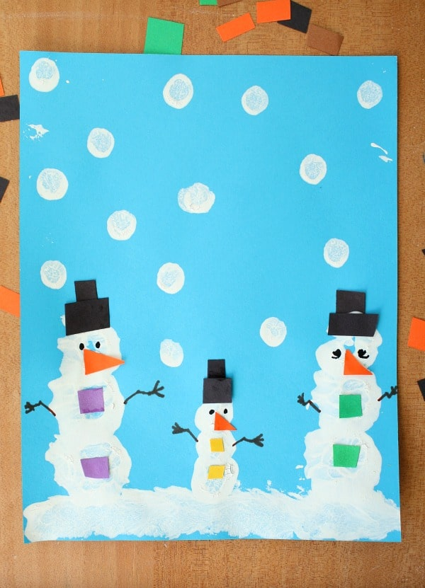 Snowman Pom Pom Painted Winter Art