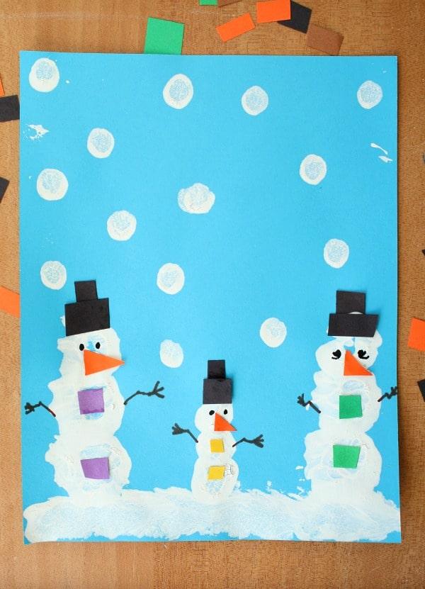 Snowman Pom Pom Painted Winter Art