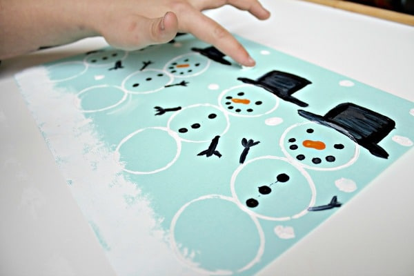Fingerprint painting winter art for preschool