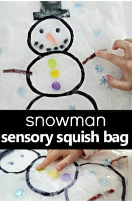 Snowman Sensory Squish Bag-Snowman theme toddler and preschool sensory play idea for winter #winteractivities #sensoryplay #preschool