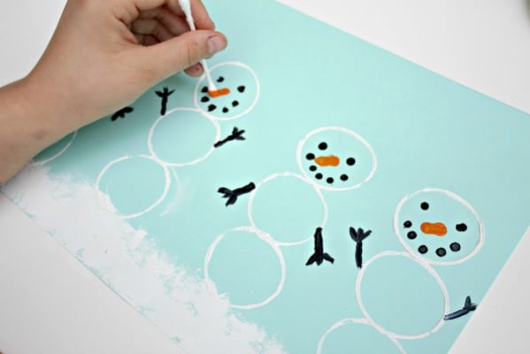 Q tip painting winter art