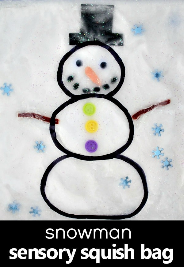 Snowman Sensory Bag for Toddlers and Preschoolers. Indoor fun for winter!